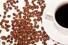 White cup with black coffee Stock Photos