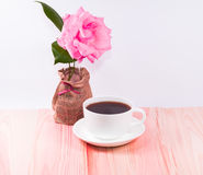 White cup and black coffee ,flower Royalty Free Stock Photography