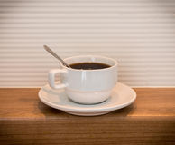 White cup of black coffee Horizontal Stock Photography
