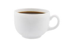 White cup of black coffee isolated Royalty Free Stock Image