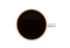 White cup of black coffee isolated Royalty Free Stock Images