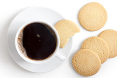 White cup of black coffee and saucer with shortbread biscuits fr Stock Photo