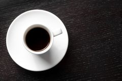 White cup with black coffee with space for text Stock Photo