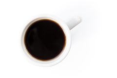 White cup with black coffee stands on the table Stock Photography