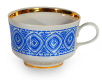 White cup with a blue pattern Royalty Free Stock Photos