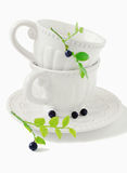 White cup and blueberries Stock Images