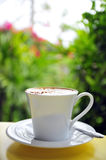 White cup of  Cappuccino latte coffee Royalty Free Stock Photography