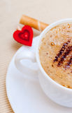 White cup coffe waffle roll with cream heart. Love valentine's day Royalty Free Stock Image