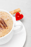 White cup coffe waffle roll with cream heart. Love valentine's day Stock Photography
