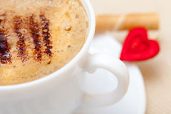White cup coffe waffle roll with cream heart. Love valentine's day Royalty Free Stock Photography