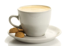 White cup with coffee and amarettini Stock Photos