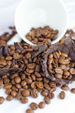 White cup with coffee beans Stock Photos