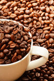 Composition with white cup and coffee beans Stock Photo