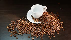 White Cup With Coffee Beans on Black Background.  Stock Images