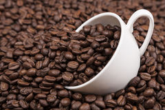 White cup with coffee beans close up. White cup of coffee on heap of coffee beans close up Stock Photo