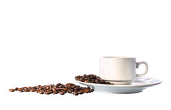 White cup of coffee and beans on white background Stock Photos