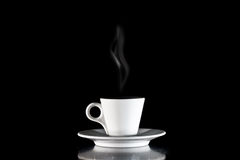 White Cup of coffee on a black background Stock Image