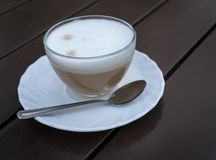 White Cup of Coffee on Brown Wood Royalty Free Stock Images
