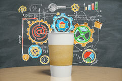 White cup of coffee with business strategy concept Royalty Free Stock Photos