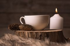 White cup with coffee, candle, cones and fur stock image