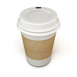 White cup of coffee with a cardboard label. On a white. 3d Royalty Free Stock Photography