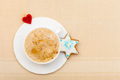 White cup coffee christmas gingerbread cake star heart symbol love Stock Images