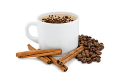 White cup with coffee and cinnamon. Royalty Free Stock Images