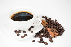 White cup coffee with coffee bean Royalty Free Stock Photos
