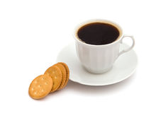 White cup of coffee with crackers Stock Image