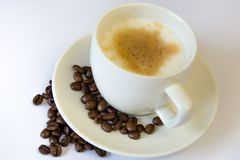 Cup of coffee. White cup of coffee royalty free stock photo