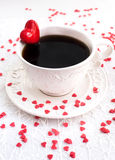 White cup of coffee decorated with red heart Stock Photo