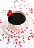 White cup of coffee decorated with red heart Royalty Free Stock Photos