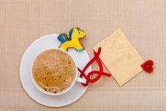 White cup coffee gingerbread cake pony blank card. Christmas. Royalty Free Stock Photography