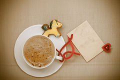 White cup coffee gingerbread cake pony blank card. Christmas. Stock Image