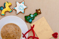 White cup coffee handmade gingerbread cakes blank card. Christmas. Stock Photo