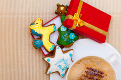 White cup coffee handmade gingerbread cakes gift box. Christmas. Stock Images