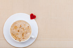 White cup coffee hot drink and heart symbol love valentine's day Royalty Free Stock Image