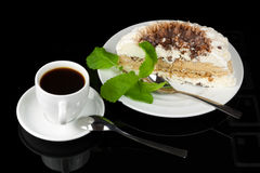 White cup of coffee and ice cream cake Royalty Free Stock Photo