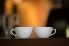 White cup of coffee lovers Stock Photos