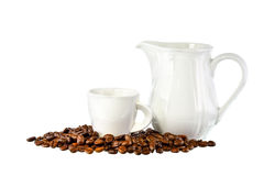 White cup of coffee, mug and coffee beans on white background Stock Images