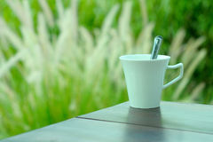 White cup of coffee with natural green grass background Royalty Free Stock Photography