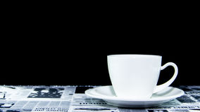 White cup of coffee pure ceramic on table mat Stock Photo