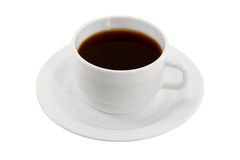 White cup of coffee on a saucer isolated Royalty Free Stock Photos