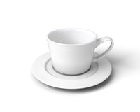 White cup of coffee on a saucer on a white background Royalty Free Stock Photos