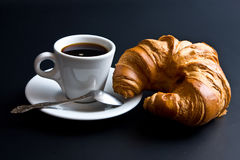 White Cup Coffee, Spoon And Croissant Royalty Free Stock Photos