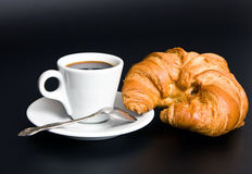 White cup coffee, spoon and croissant Royalty Free Stock Photo