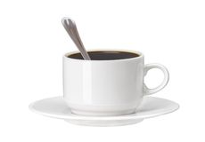 White cup of coffee with spoon isolated on white Stock Images