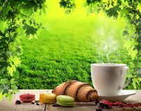 White cup and macaroons Stock Photos