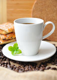 White cup of coffee and tasty cookie Royalty Free Stock Photo