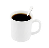 White cup of coffee with tea-spoon isolated Royalty Free Stock Image